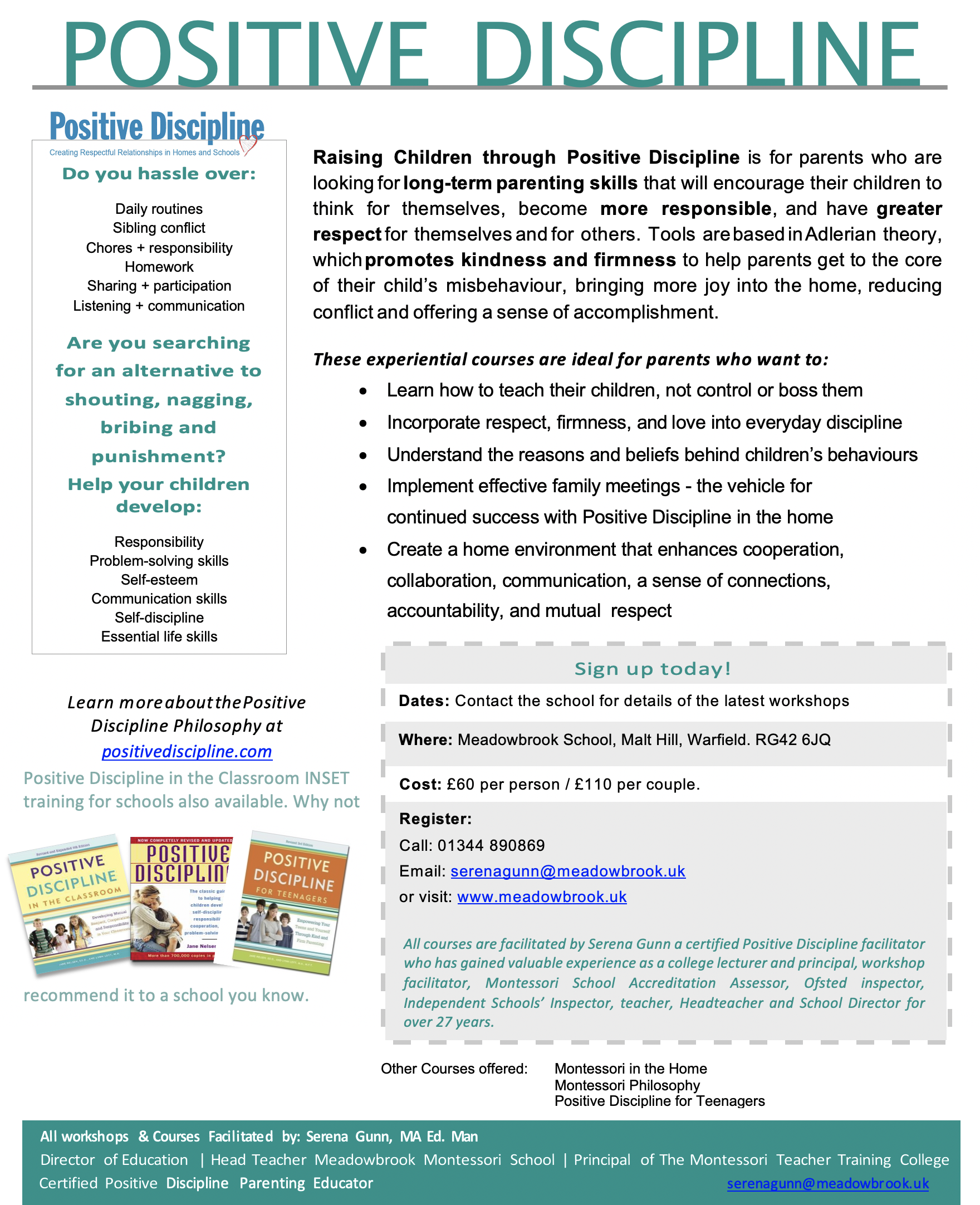 Positive Discipline - Flyer - Meadowbrook School - Warfield